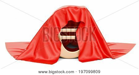 Euro covered red cloth 3D rendering isolated on white background