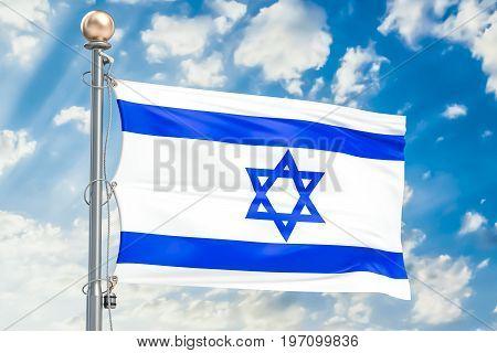 Israeli flag waving in blue cloudy sky 3D rendering