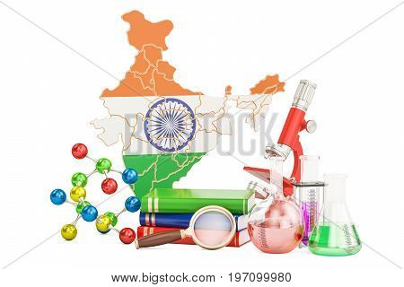Scientific research in India concept 3D rendering isolated on white background