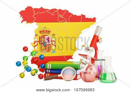 Scientific research in Spain concept 3D rendering isolated on white background
