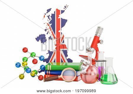 Scientific research in United Kingdom concept 3D rendering isolated on white background