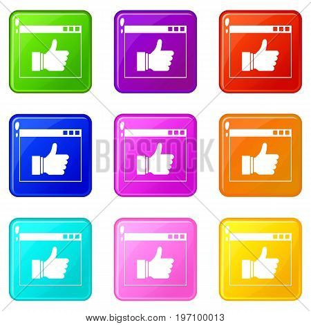 Hand with thumb up in browser icons of 9 color set isolated vector illustration