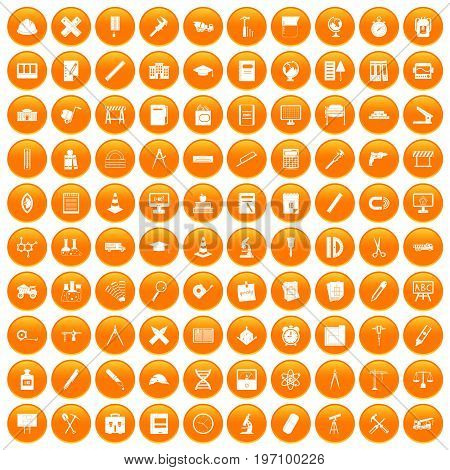 100 compass icons set in orange circle isolated on white vector illustration