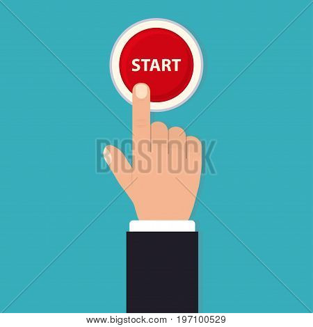 Hand push start, Press the button, Flat style,  top view. Touch icon concept. Vector