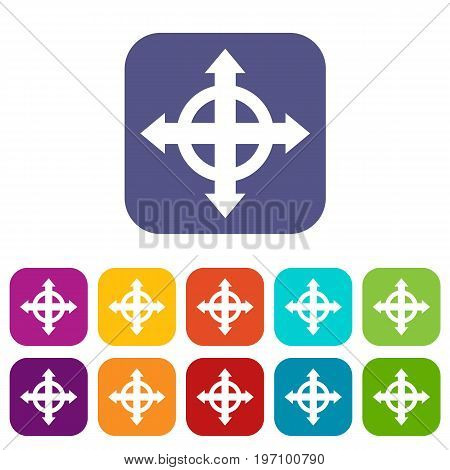 Arrows target icons set vector illustration in flat style in colors red, blue, green, and other