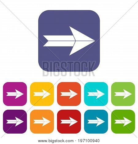 Big arrow icons set vector illustration in flat style in colors red, blue, green, and other