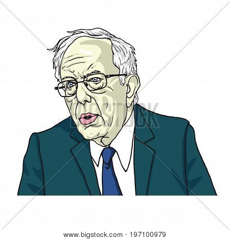 Bernie Sanders Portrait Cartoon Caricature. Vector Illustration. July 24, 2017