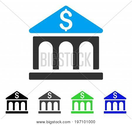 Bank Building flat vector pictogram. Colored bank building gray, black, blue, green pictogram versions. Flat icon style for application design.
