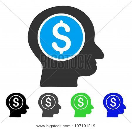 Banker flat vector icon. Colored banker gray, black, blue, green icon versions. Flat icon style for application design.