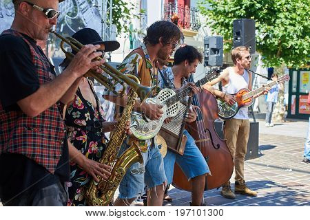 A Street Band In A Street Of Hondarribia. Basque Country, Spain.