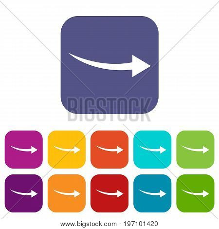 Curve arrow icons set vector illustration in flat style in colors red, blue, green, and other