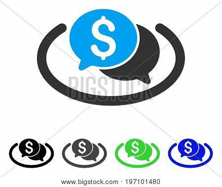 Financial Chat Area flat vector icon. Colored financial chat area gray, black, blue, green icon versions. Flat icon style for application design.
