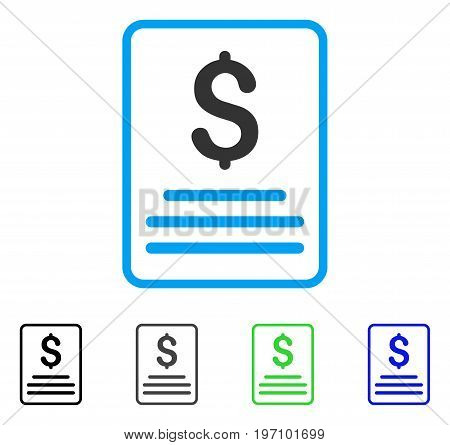 Invoice flat vector pictograph. Colored invoice gray, black, blue, green pictogram variants. Flat icon style for application design.