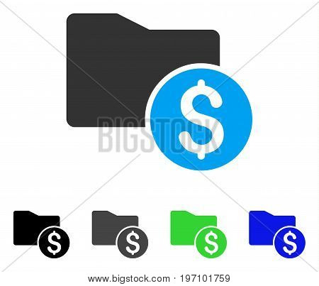 Money Folder flat vector illustration. Colored money folder gray, black, blue, green icon variants. Flat icon style for application design.