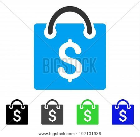 Shopping Bag flat vector pictograph. Colored shopping bag gray, black, blue, green icon variants. Flat icon style for web design.