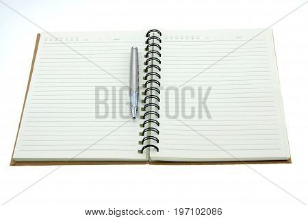 Blank diary isolated on a white background