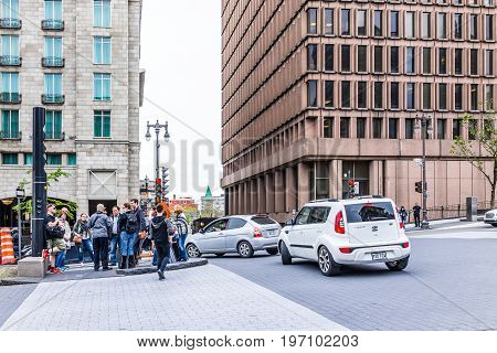 Quebec City, Canada - May 29, 2017: People Crossing Old Town Street Avenue Honore-mercier With Cobbl
