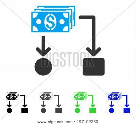 Cashflow flat vector pictogram. Colored cashflow gray, black, blue, green icon variants. Flat icon style for application design.