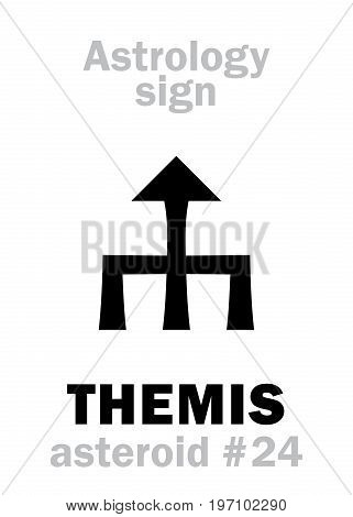 Astrology Alphabet: THEMIS, asteroid #24. Hieroglyphics character sign (single symbol).
