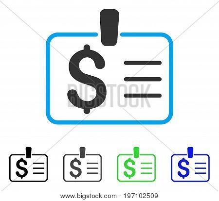 Dollar Badge flat vector pictogram. Colored dollar badge gray, black, blue, green icon variants. Flat icon style for application design.