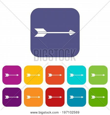 Long arrow icons set vector illustration in flat style in colors red, blue, green, and other