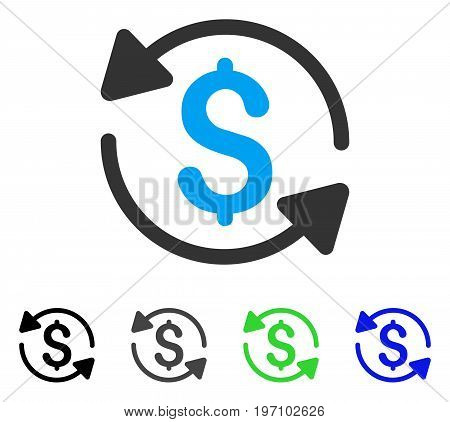 Money Turnover flat vector pictogram. Colored money turnover gray, black, blue, green pictogram versions. Flat icon style for application design.
