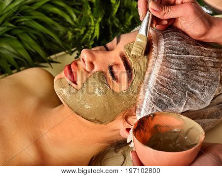 Mud facial mask of woman in spa salon. Massage with clay full face in therapy room. Healing clay to preserve youth. Applying beautician with bowl therapeutic procedure on green plants background.