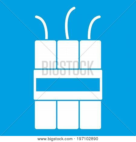 Dynamite explosives icon white isolated on blue background vector illustration