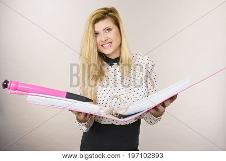 Happy Positive Business Woman Holding Binder With Documents