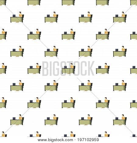 Man sitting at a computer desk pattern seamless repeat in cartoon style vector illustration