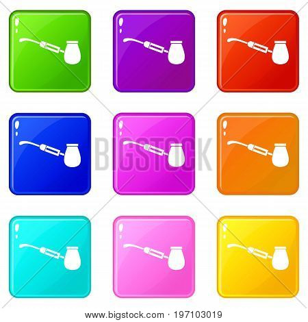 Electronic cigarette with nozzle icons of 9 color set isolated vector illustration