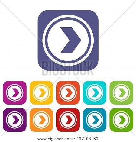 Arrow to right in circle icons set vector illustration in flat style in colors red, blue, green, and other