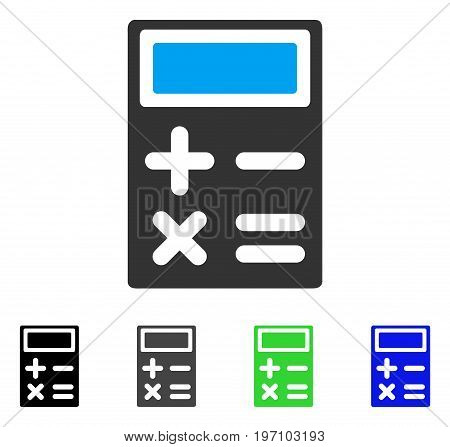 Calculator flat vector illustration. Colored calculator gray, black, blue, green pictogram versions. Flat icon style for graphic design.