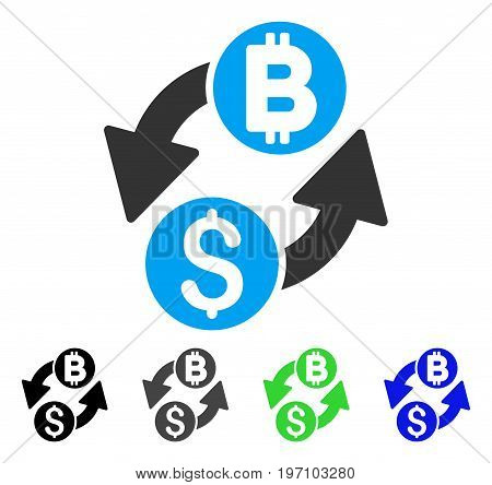 Dollar Bitcoin Exchange flat vector illustration. Colored dollar bitcoin exchange gray, black, blue, green icon variants. Flat icon style for web design.
