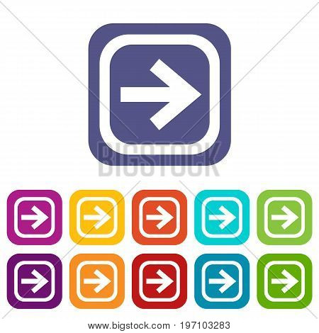 Arrow in square icons set vector illustration in flat style in colors red, blue, green, and other