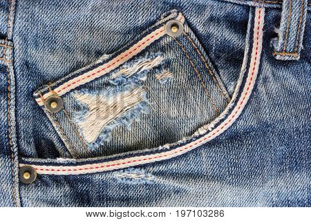 Close up pocket on jeans for background.