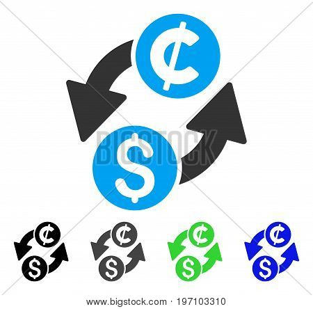 Dollar Cent Exchange flat vector icon. Colored dollar cent exchange gray, black, blue, green icon variants. Flat icon style for application design.