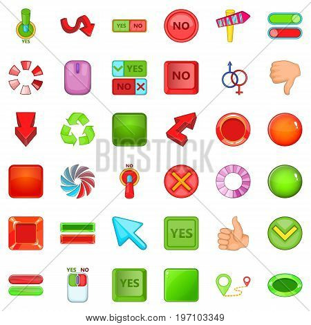Computer click icons set. Cartoon style of 36 computer click vector icons for web isolated on white background