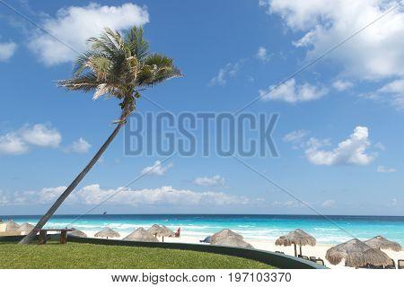 View of tropical Cancun beach Mayan riviera Mexico