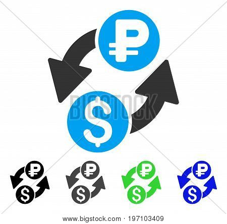 Dollar Rouble Exchange flat vector illustration. Colored dollar rouble exchange gray, black, blue, green icon versions. Flat icon style for web design.