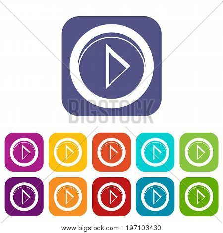Cursor to right in circle icons set vector illustration in flat style in colors red, blue, green, and other