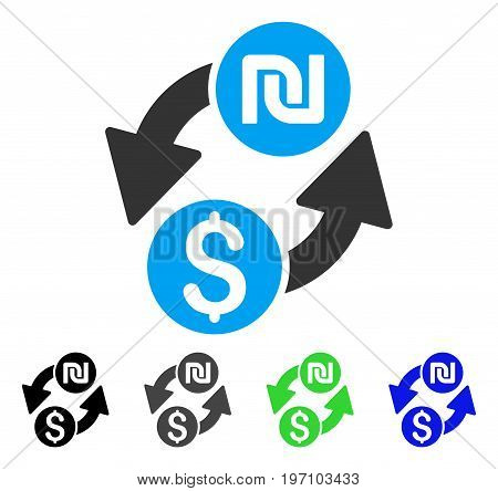 Dollar Shekel Exchange flat vector pictogram. Colored dollar shekel exchange gray, black, blue, green icon variants. Flat icon style for application design.