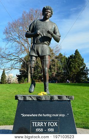 Victoria BC,Canada,March 3rd 2015.A monument dedicated to Canada's most famous person Terry Fox.Terry is  known as the Marathon Man of Hope.He ran across Canada to raise money for cancer research.He ran a marathon a day on one leg before the cancer ended