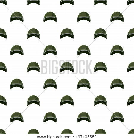 Military helmet pattern seamless repeat in cartoon style vector illustration