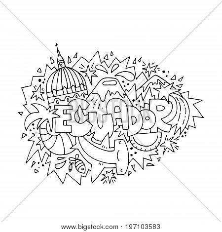 Ecuador concept for adult coloring book - hand drawn illustration, black outline.
