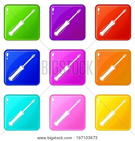 Screwdriver icons of 9 color set isolated vector illustration