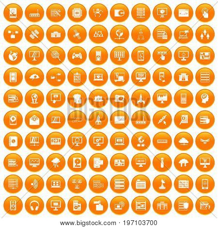 100 database and cloud icons set in orange circle isolated on white vector illustration
