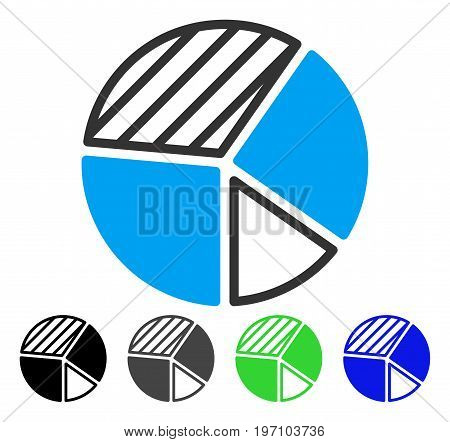 Pie Chart flat vector illustration. Colored pie chart gray, black, blue, green icon variants. Flat icon style for application design.