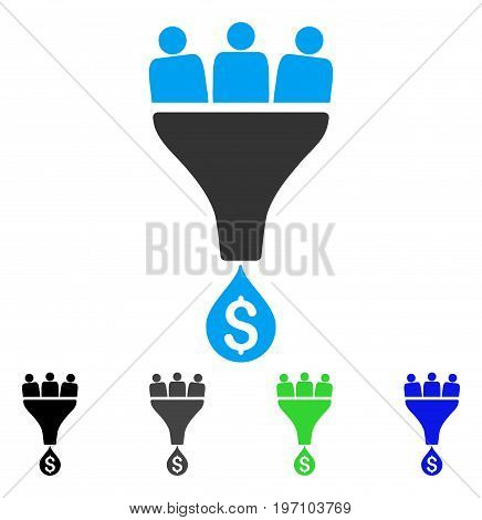 Sales Funnel flat vector illustration. Colored sales funnel gray, black, blue, green pictogram versions. Flat icon style for web design.