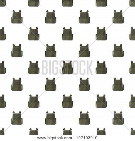 Military backpack pattern seamless repeat in cartoon style vector illustration